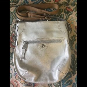 B. Markowski Silver Pewter Pebble Leather Bag.
